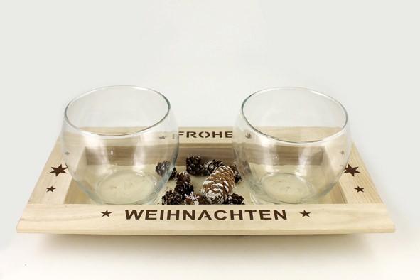 Adventstablett mit 2 Gläsern