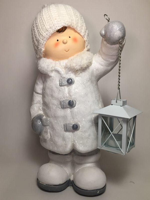 Deko Winterkind Junge mit Laterne