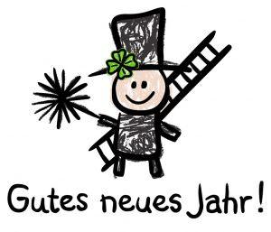 Gutes Neues Jahr! - wünscht Deine Stielwerkstatt mit Schornsteinfeger, Bürste, Leiter, Kleeblatt