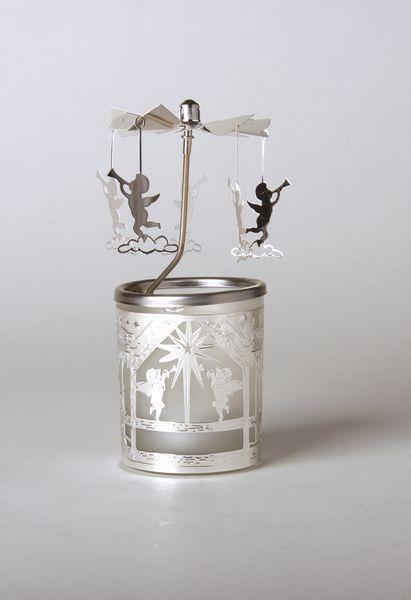 glas karussell windlicht engelstrompete teelicht weihnachtlich festliche deko ebay. Black Bedroom Furniture Sets. Home Design Ideas