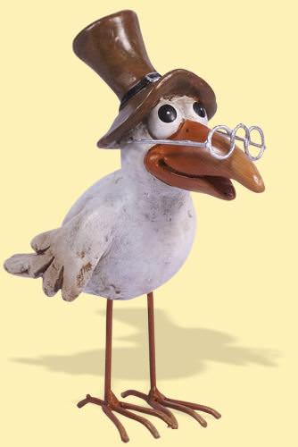 Deko Vogel Kiki mit Zylinder | Sehr schön anzusehender Deko Vogel mit Brille und Zylinder. Hört auf den Namen Kiki und lässt alle Vogelliebhaber strahlen.