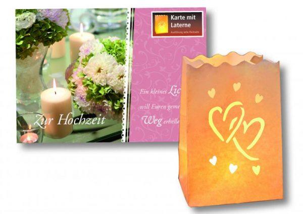 Laternenkarte Zur Hochzeit - Jede Faltkarte ziert ein stimmungsvolles Fotomotiv & aufgeklappt enthält sie eine kleine Laterne in den Maßen 16 x 11 x 11 cm