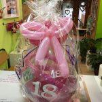 Ballongeschenkverpackung Ballongeschenk zum 18. Geburtstag in rosa-pink.