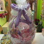 Ballongeschenk zum 30. Geburtstag in lila-weiß-rosa. Ballongeschenkverpackung