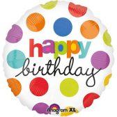 Folienballon Happy Birthday Punkte | ungefüllt/Helium gefüllt | Geburtstag