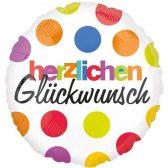 Folienballon Herzlichen Glückwunsch | ungefüllt/Helium gefüllt | Geburtstag