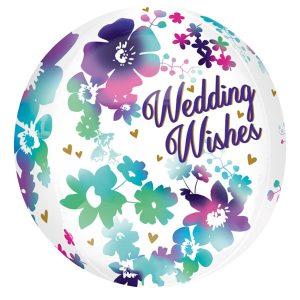 Folienballon 3D Blumige Hochzeitswünsche Wedding Wishes