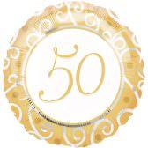 Folienballon 50. Jubiläum | ungefüllt / Helium gefüllt | Goldene Hochzeit