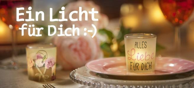 Ein Licht für Dich ist ein Mini Windlichtglas mit Motiv auf transparenter Banderole. Ideal als Geschenk (statt einer Karte) oder als schöne Tischdekoration.