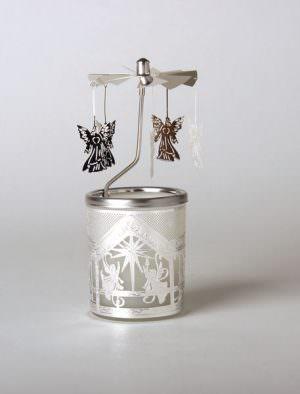 Glas Karussell Windlicht Krippe mit Engeln | weihnachtlich Dekorieren