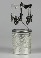Glas Karussell Windlicht Schneemann Teelicht | weihnachtlich Dekorieren