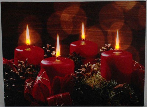LED Weihnachtsbild Adventskranz mit 4 Lichtern LED Bild Weihnachten Winter