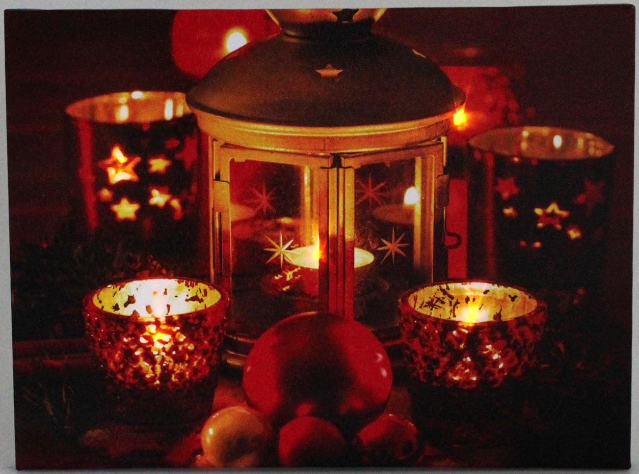 led weihnachtsbild laterne teelichter 5 lichter led bild weihnachten winter ebay. Black Bedroom Furniture Sets. Home Design Ideas