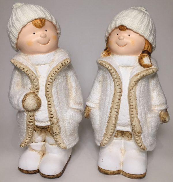 Deko Winterkinder mit Wollmütze