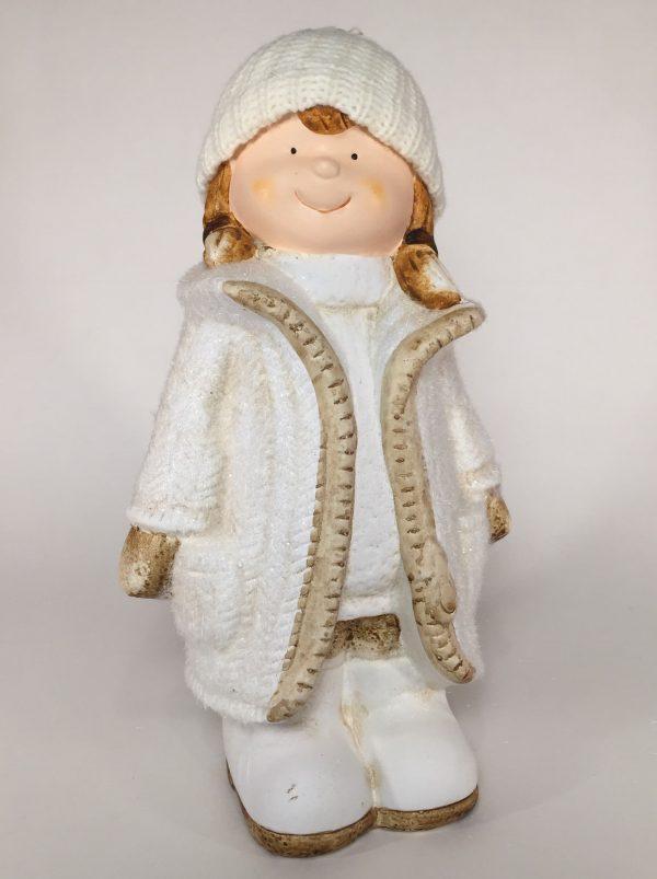 Deko Winterkind Mädchen mit Wollmütze