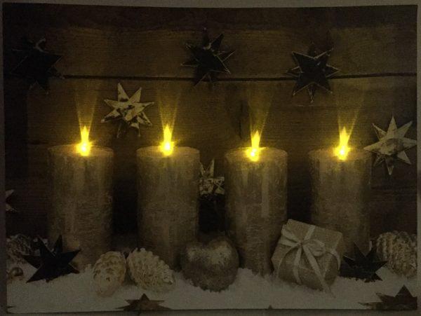 led weihnachtsbild advent mit 4 lichtern goldfarben. Black Bedroom Furniture Sets. Home Design Ideas