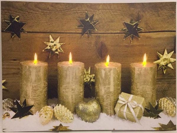 LED Weihnachtsbild Advent mit 4 Lichtern goldfarben |Weihnachten Winter