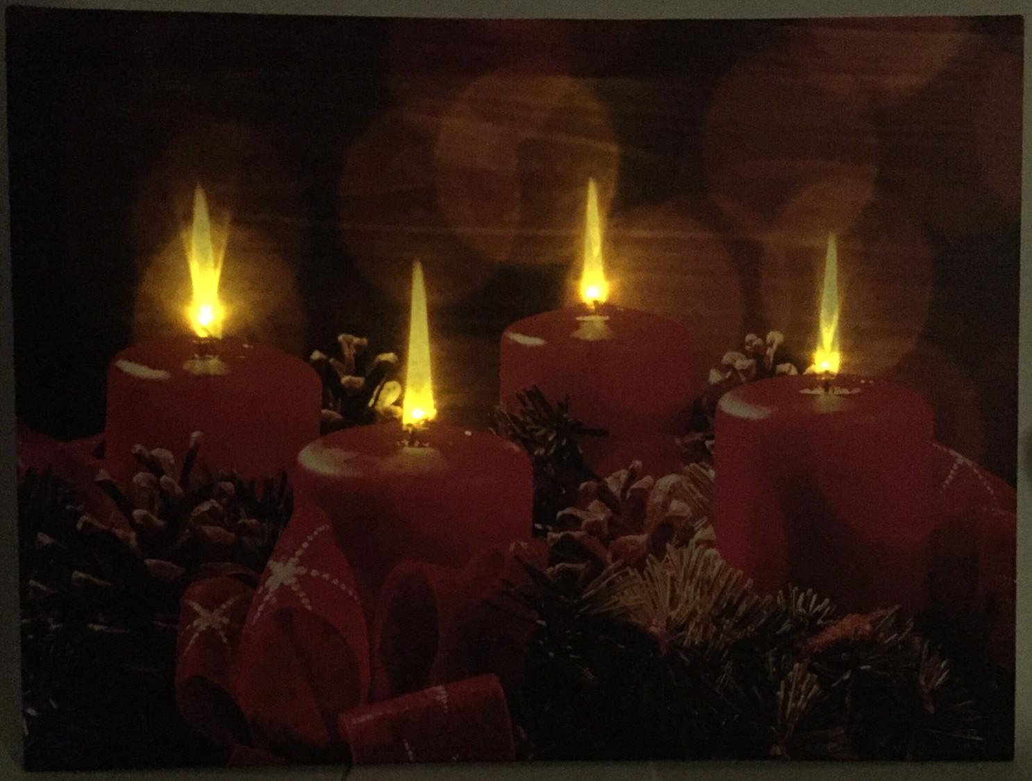 Weihnachtsbilder Mit Led.Led Weihnachtsbild Adventskranz Mit 4 Lichtern Weihnachten Winter