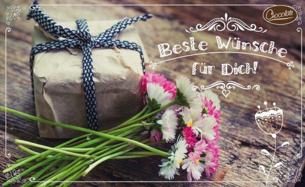 Schokokarte Beste Wünsche für Dich | Trinkschokolade | Schoko Briefgruß