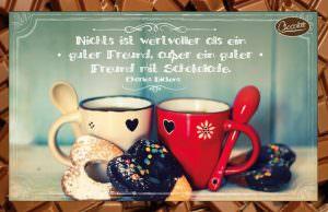 Schokokarte Guter Freund | Trinkschokolade | Schoko Briefgruß mit Zitat