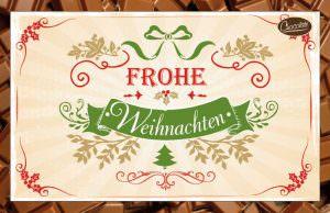 Schokokarte Frohe Weihnachten | Trinkschokolade als Postkarte versenden