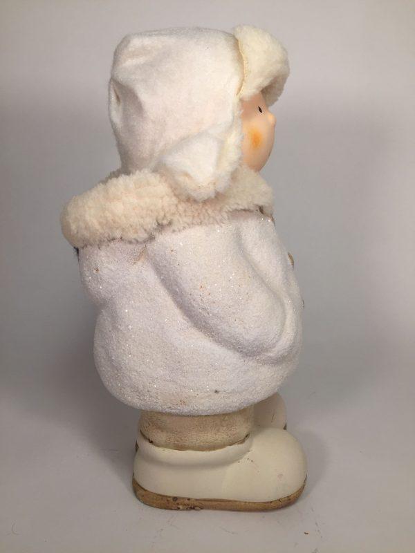Deko Winterkinder mit Fellmütze Weiss & ohne Schneeball Winter- / Dekofigur 24cm Keramik
