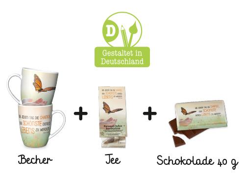 Kleine Auszeit für Dich :-) ist in Deutschland gestaltet und besteht aus einem Becher, einem Tee und einer kleinen Tafel Schokolade im gleichen Design.