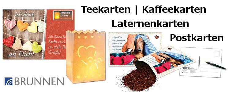 Teekarten Laternenkarten Kaffeekarten Postkarten Brunnen-Verlag stielwerkstatt