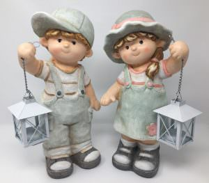 Deko Sommerkinder mit Laterne, Gartenfiguren aus Magnesia, Dekofiguren 35cm