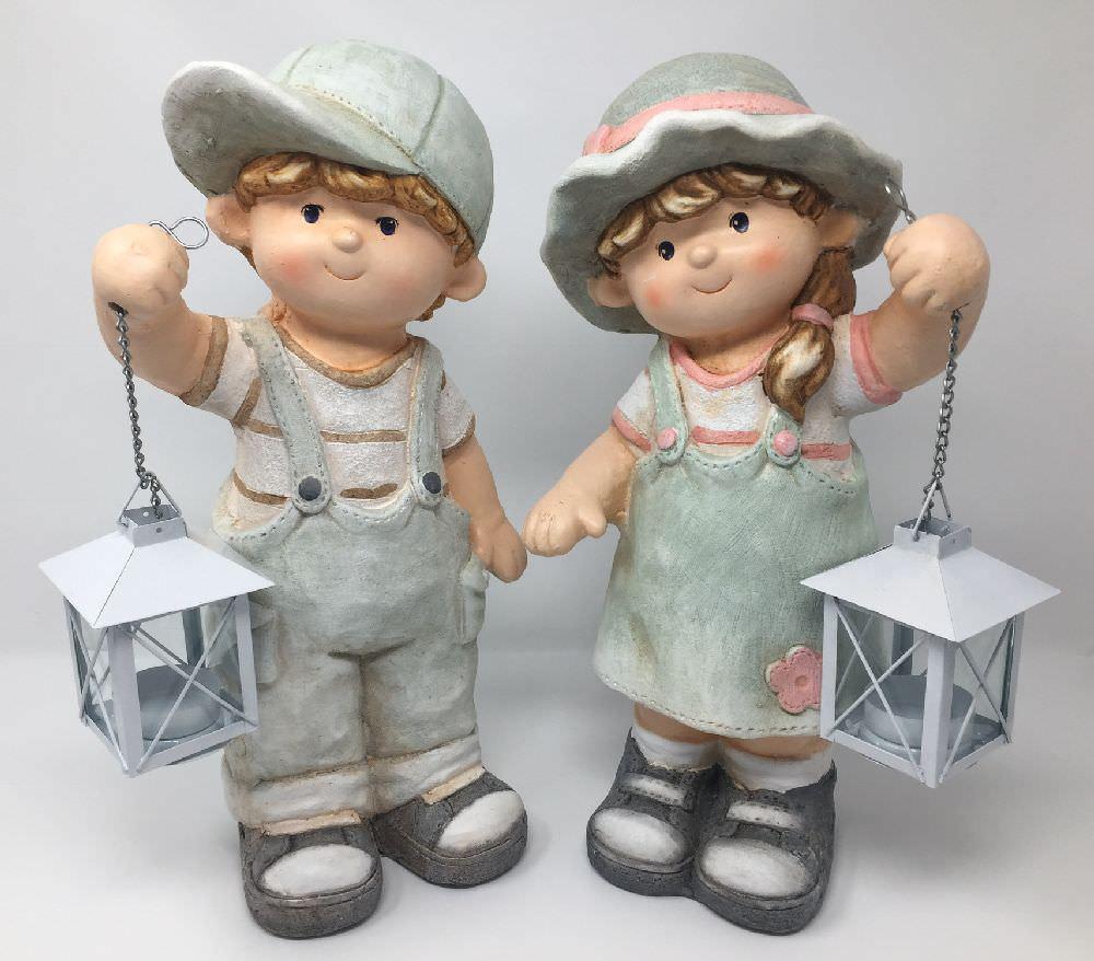 Deko Sommerkinder Mit Laterne, Gartenfiguren Aus Magnesia
