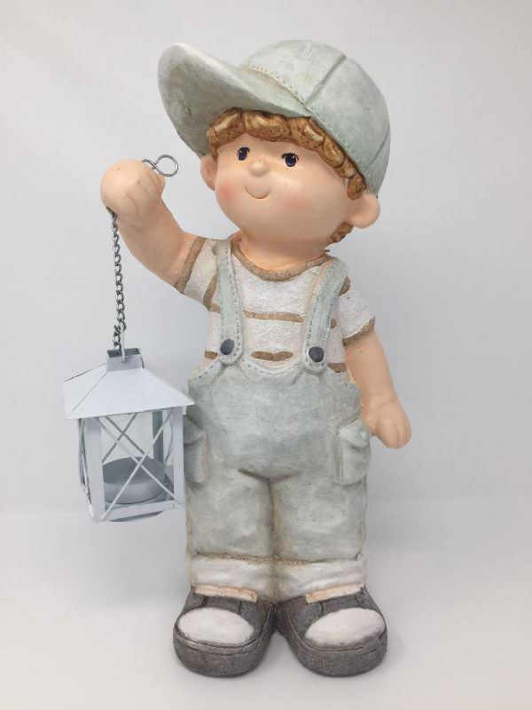 Deko Sommerkind Junge mit Laterne, Gartenfigur aus Magnesia, Dekofigur 35cm hoch