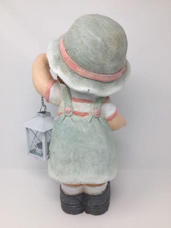 Deko Sommerkind Mädchen mit Laterne, Gartenfigur aus Magnesia, Dekofigur 35cm hoch
