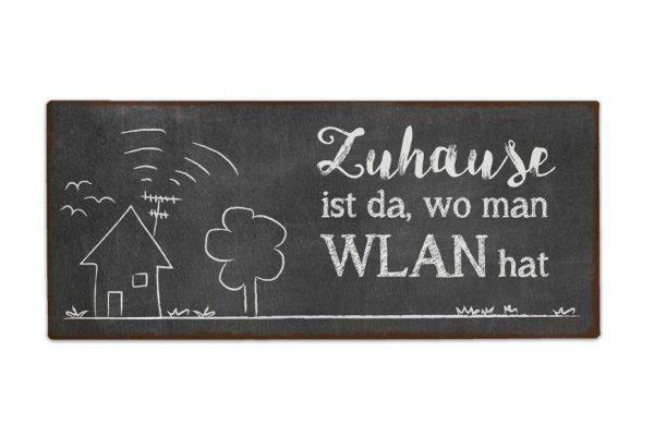 Schild für Dich Zuhause ist da, wo man WLAN hat | Vintage Metallschild | Geschenk für Dich