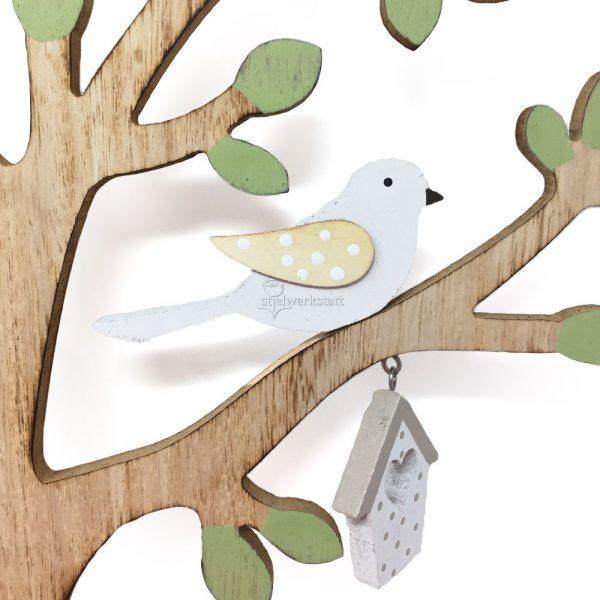 Deko Baum Holz mit Vögeln
