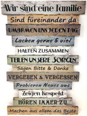 Dekoschild Familienregeln - Wandbild aus Holz | Wandschild mit Regeln & Sprüche Vintage Shabby