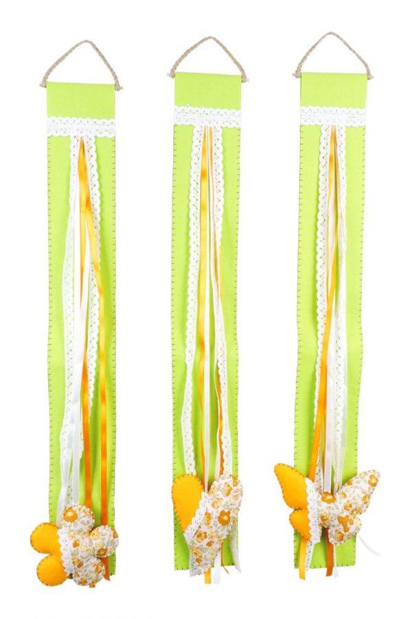 Türdeko Filz grün Dekohänger Herz, Blume, Schmetterling Primavera