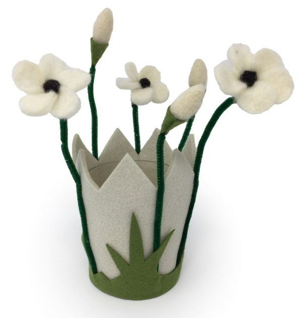 Filzblumen Windlicht & Blumentopf aus Filz mit Glas - Farbe: Weiß | Größe: M