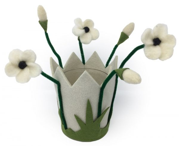 Filzblumen Windlicht & Blumentopf aus Filz mit Glas - Farbe: Weiß | Größe: L
