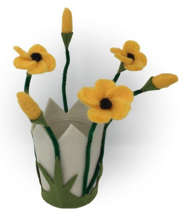 Filzblumen Windlicht & Blumentopf aus Filz mit Glas - Farbe: Gelb | Größe: M