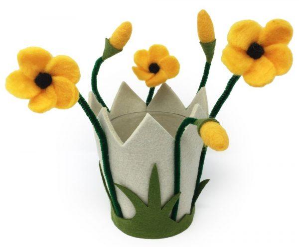 Filzblumen Windlicht & Blumentopf aus Filz mit Glas - Farbe: Gelb | Größe: L