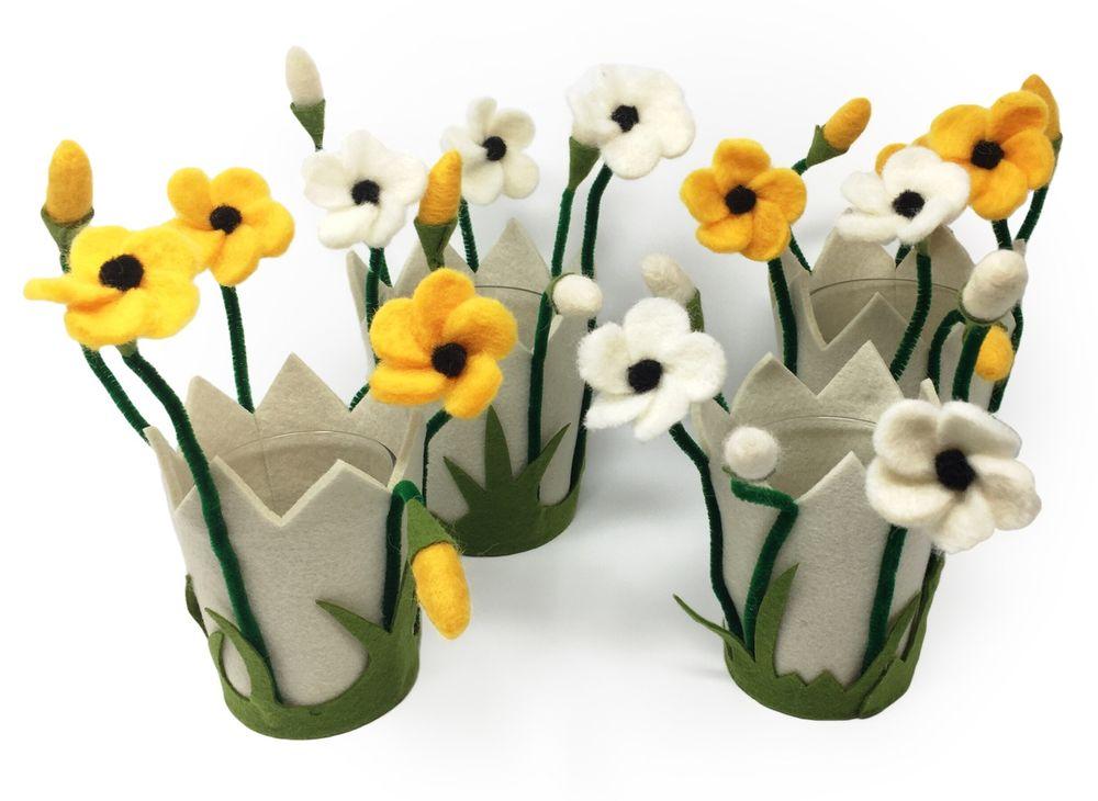 filzblumen windlicht blumentopf aus filz mit glas ideal. Black Bedroom Furniture Sets. Home Design Ideas