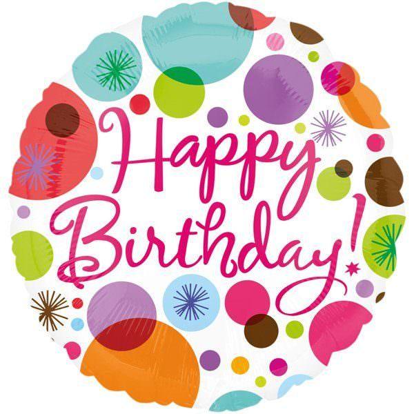 Folienballon Happy Birthday Polka 0026635181624 18162 Design Anagram Heliumballon Luftballon