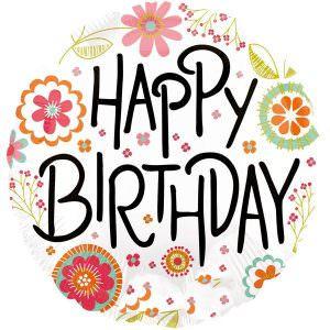Folienballon Happy Birthday Blumen 0026635307147 30714 Anagram Heliumballon Luftballon