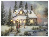 LED Bild Weihnachten Winterdorf mit 8 Lichtern Beleuchtung