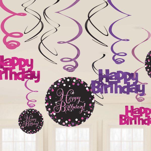 Hängedeko Spiralen Happy Birthday schwarz pink funkelnd party metallicfolie pappe amscan 0013051665739
