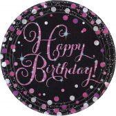 8 Teller Happy Birthday schwarz pink funkelnd party rund pappteller 23cm amscan 0013051637354