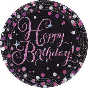 8 Teller Happy Birthday schwarz pink funkelnd party rund pappteller 23cm amscan 0013051637354