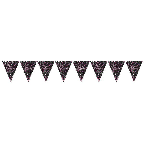 Wimpelkette Happy Birthday schwarz pink funkelnd 3,96m party wimpel girlande amscan 0013051665746