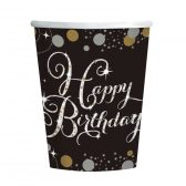 8 Becher Happy Birthday schwarz gold silber funkelnd 266ml Party Pappe Pappbecher 266ml Amscan 0013051637149