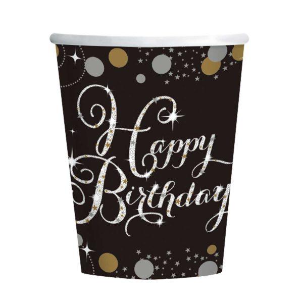 8 Becher Happy Birthday schwarz gold silber funkelnd 266ml Party Pappe Pappbecher 266ml Amscan 0013051637149